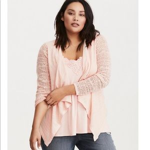 New Torrid Pointelle Sleeve Draped Front Cardigan